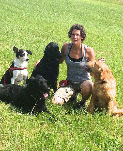 Melanie Müller en meute avec des chiens de pension